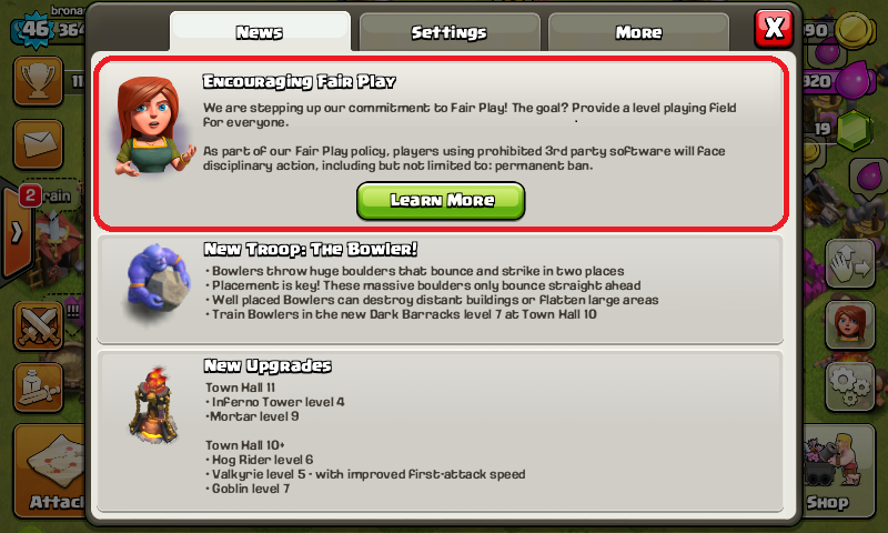 coc banned warning