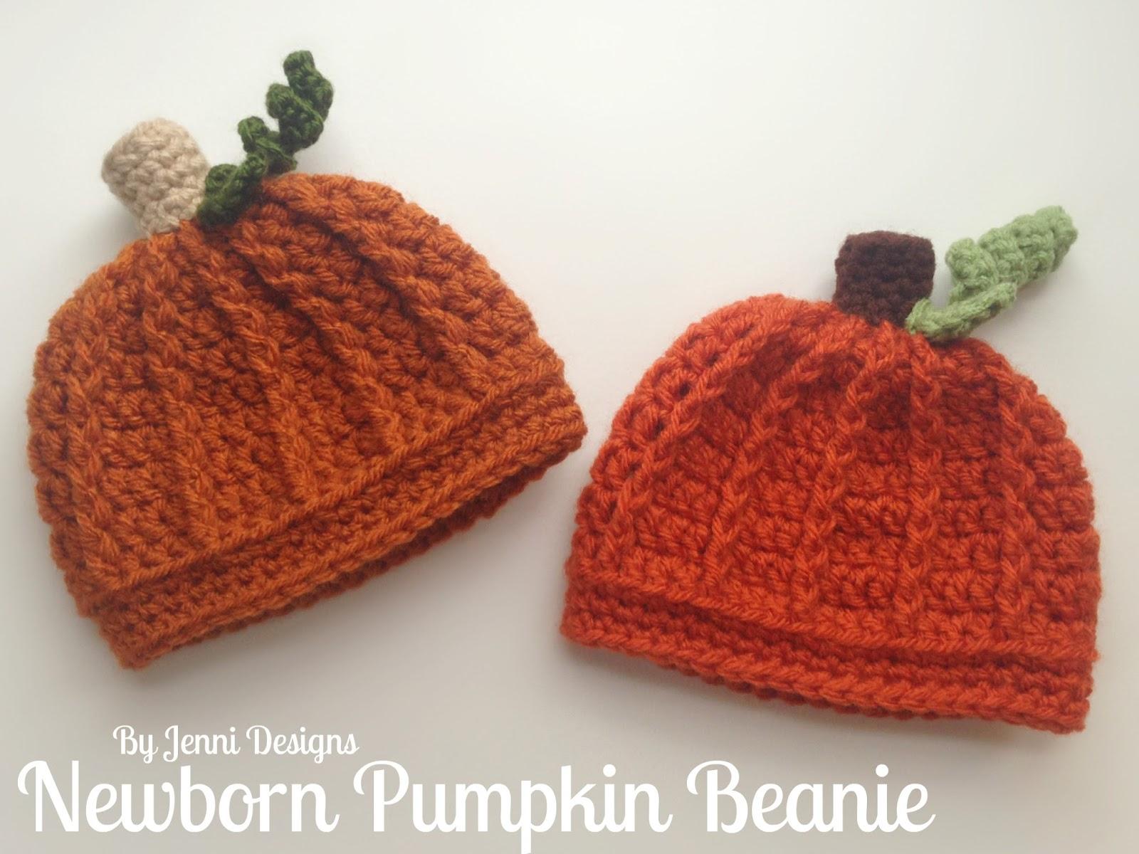 By Jenni Designs  Free Crochet Pattern  Newborn Pumpkin Beanie Hat c3b83311164