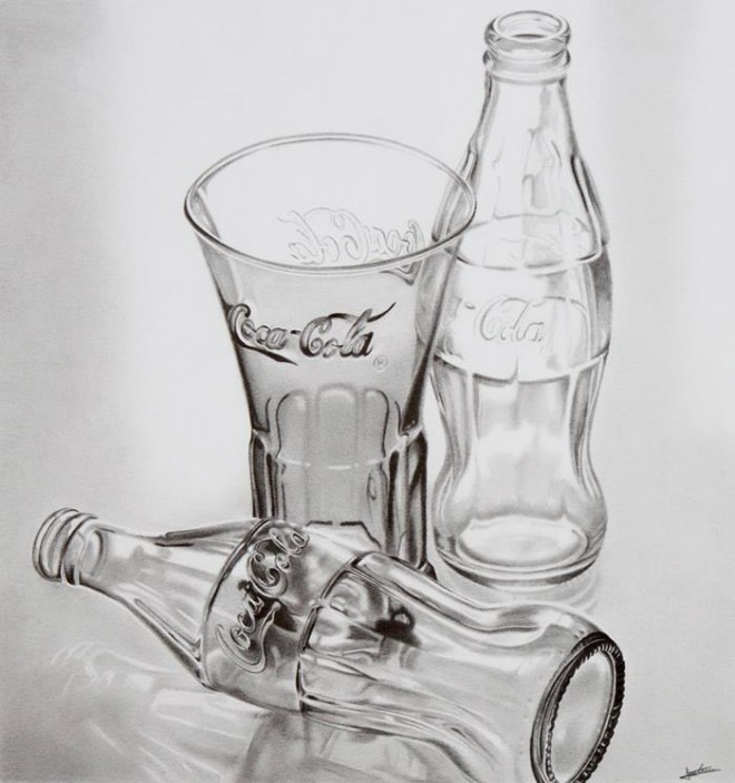 Dessins et coloriages dessin de bouteilles et d 39 un verre for Dessin en 3d