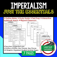 Imperialism, American History Outline Notes, American History Test Prep, American History Test Review, American History Study Guide, American History Summer School, American History Unit Reviews, American History Interactive Notebook Inserts