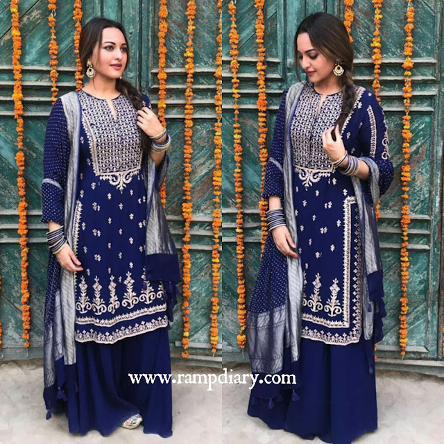 Sonakshi Sinha In Anita Dongre outfit and jewelry from Anita Dongre Pinkcity