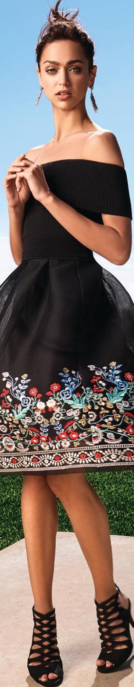 Gianni Bini Amelia Embroidered Mesh Midi Skirt