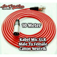 kabel mic 10 meter male to female kabel merah, jack canon neutrik
