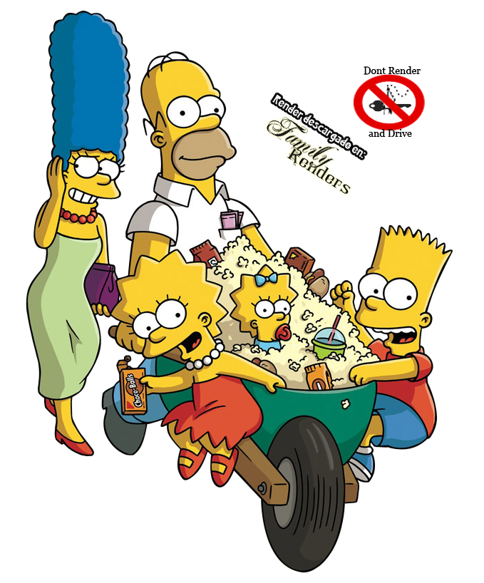Render Bart, Lisa, Maggie , Homero y Marge