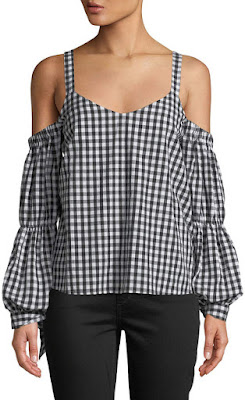 image result  Romeo & Juliet Couture Cold-Shoulder Tie-Sleeve Gingham Blouse