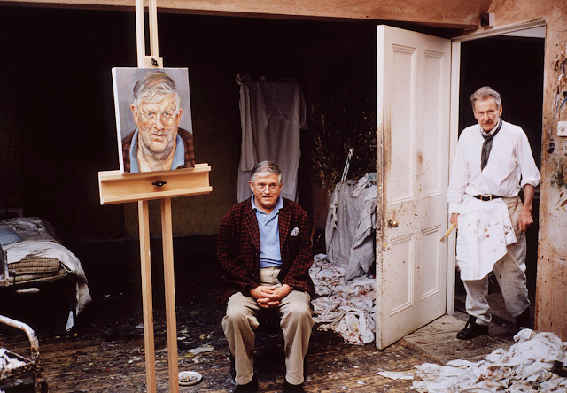 photo of Hockney and Lucian Freud in Freud's atelier