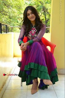 Actress Pooja Jhaveri Latest Stills in Purple Salwar Kameezt at Dwaraka Success Meet  0230.JPG