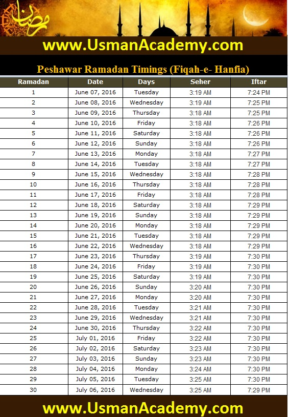 Peshawar Ramadan Timings 2020 Calendar Peshawar Ramazan