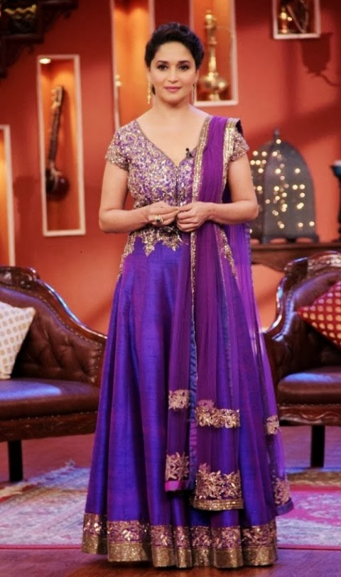 Fashion Glamour World Madhuri Dixit In A Purple Long