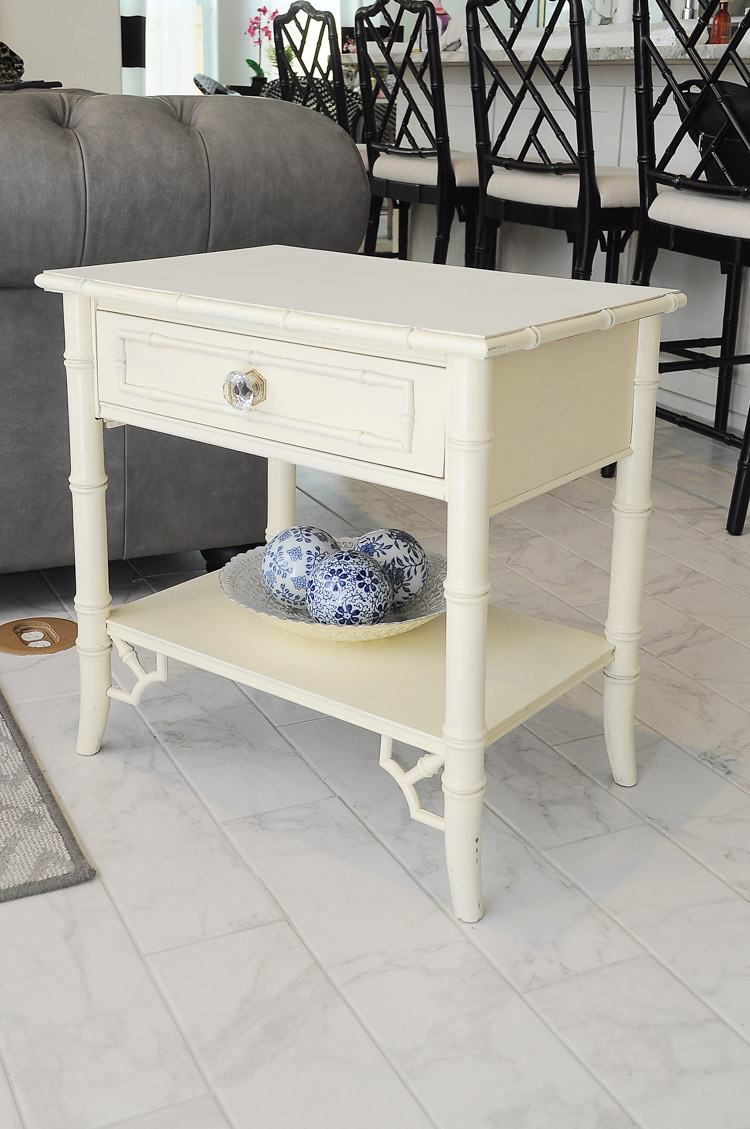 White bamboo chinoiserie end table gets a glam makeover to make the table taller.