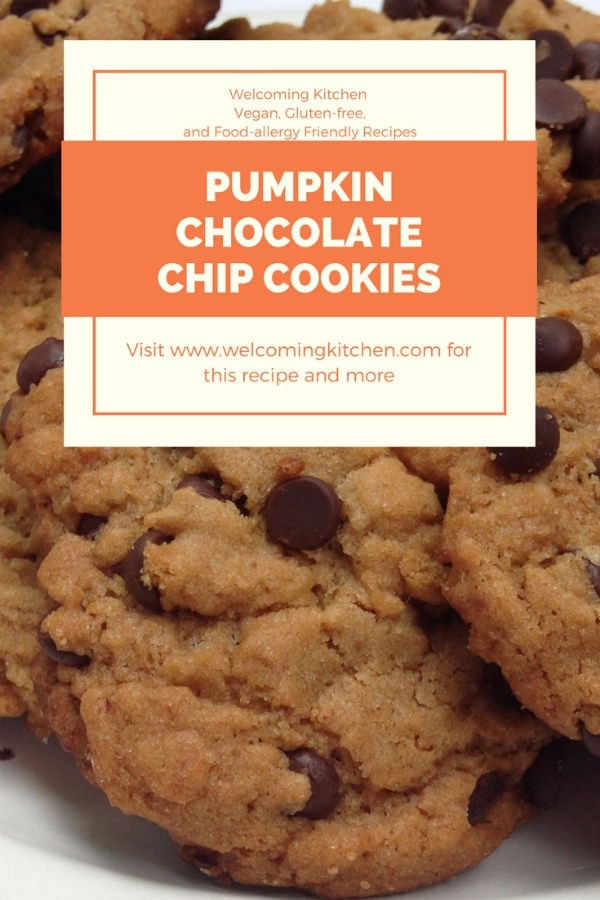 Vegan Pumpkin Chocolate Chip Cookies - (gluten-free, food-allergy friendly) www.welcomingkitchen.com
