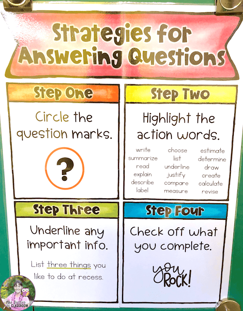 Photo of Strategies for Answering Questions poster.