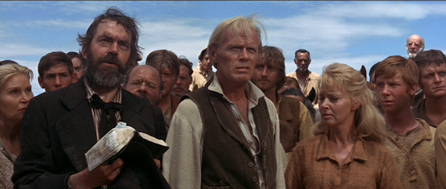 Jack Elam, Richard Widmark, Lola Albright & Michael McGreevey in The Way West (1967)