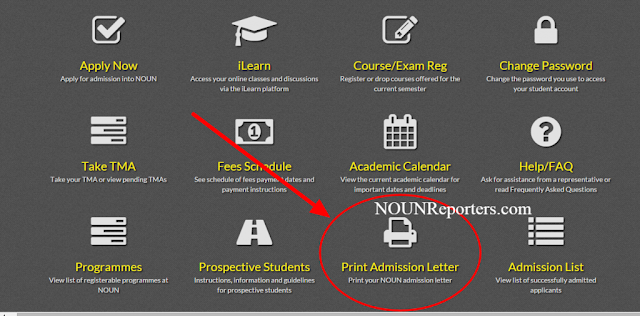 National Open University of Nigeria Portal Home print NOUN Admission letter