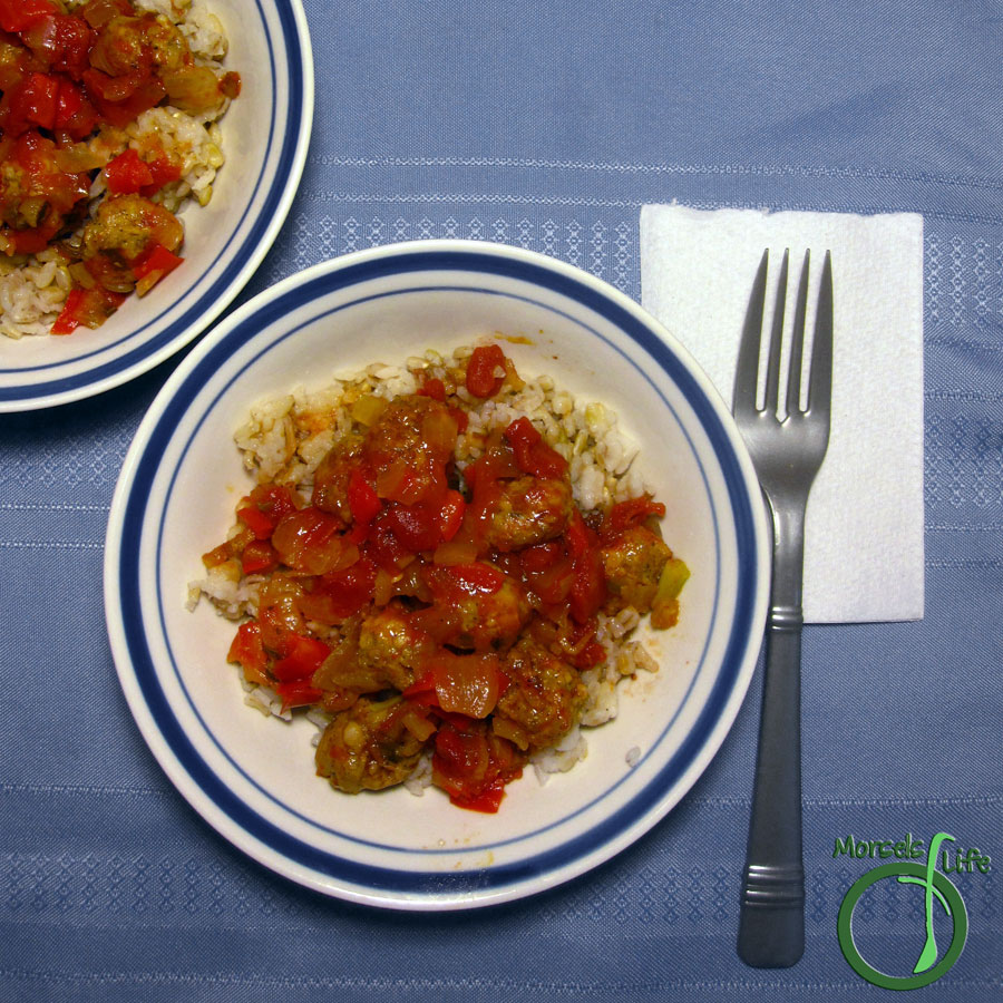 Morsels of Life - Jambalaya - A quick and easy jambalaya with sausage, onion, celery, bell pepper, and tomatoes. Perfect served on top of rice.