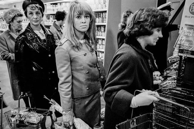 Julie Christie in the supermarket queue, June 1965.