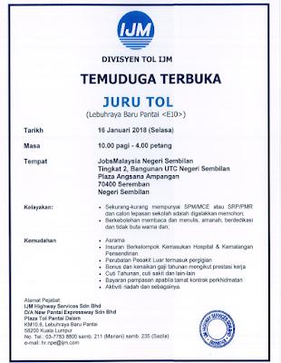 Temuduga Terbuka Jurutol di JobsMalaysia Negeri Sembilan 16 Januari 2018