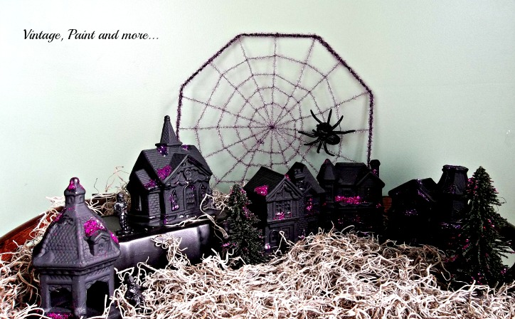 Vintage, Paint and more... a Halloween village made by painting dollar store village pieces with black paint and glitter