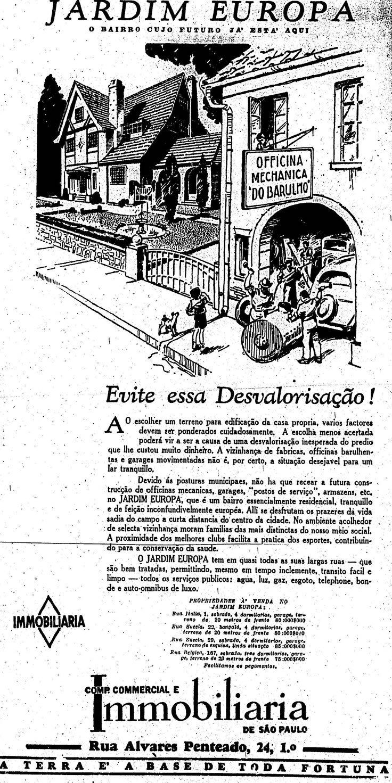Campanha para venda de imóveis no Jardim Europa, em São Paulo nos anos 30