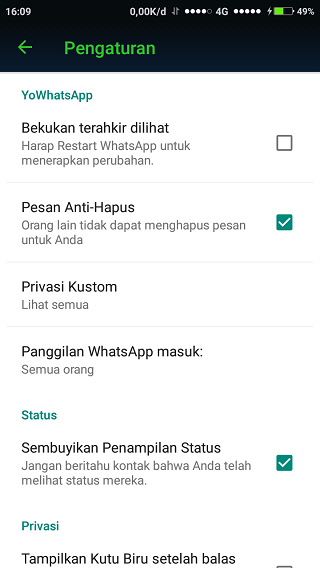 Yo WhatsApp Privasi