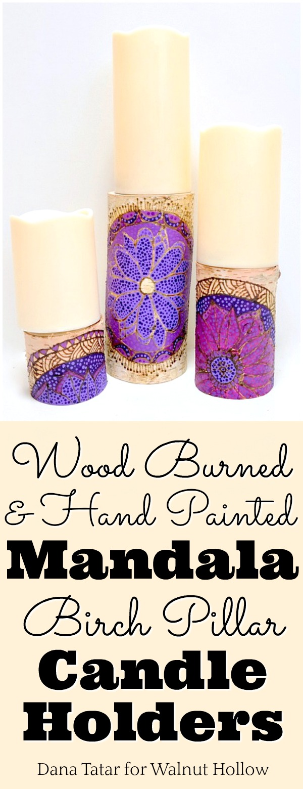 Violet Mandala Birch Candle Pillars Tutorial by Dana Tatar for Walnut Hollow