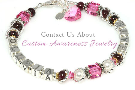 Custom Awareness Ribbon Jewelry by Crystal Allure Beaded Jewelry
