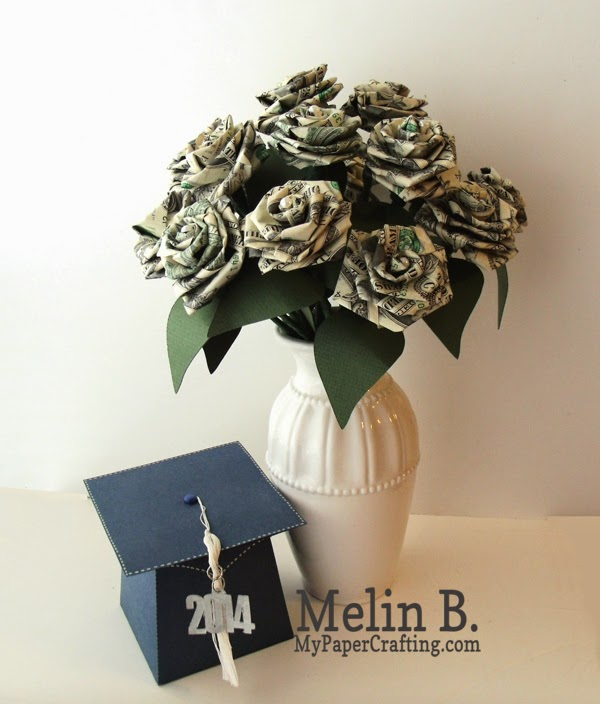 My Paper Craftingcom Dollar Bill Roses and Grad Cap Box With My Pazzles
