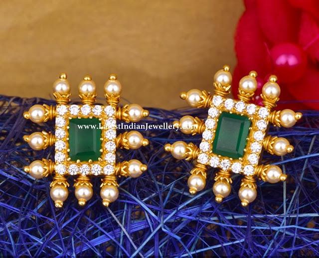 CZ Emerald Stud Earrings