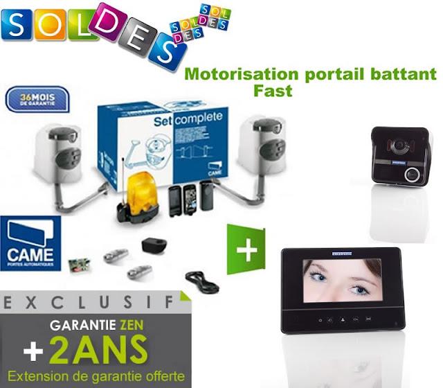 Motorisation portail 2 battants - CAME - Kit Fast - U1899 24V + 1 Interphone Ematronic EM7S