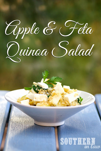 Warm Apple and Feta Quinoa Salad with fresh Basil and Parsley