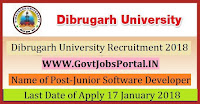 Dibrugarh University Recruitment 2018 – 25 Junior Software Developer