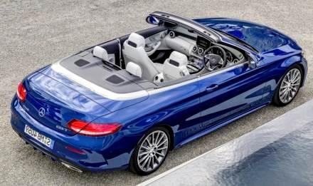 Mercedes-Benz C200 Cabrio 2017 desde arriba azul rey