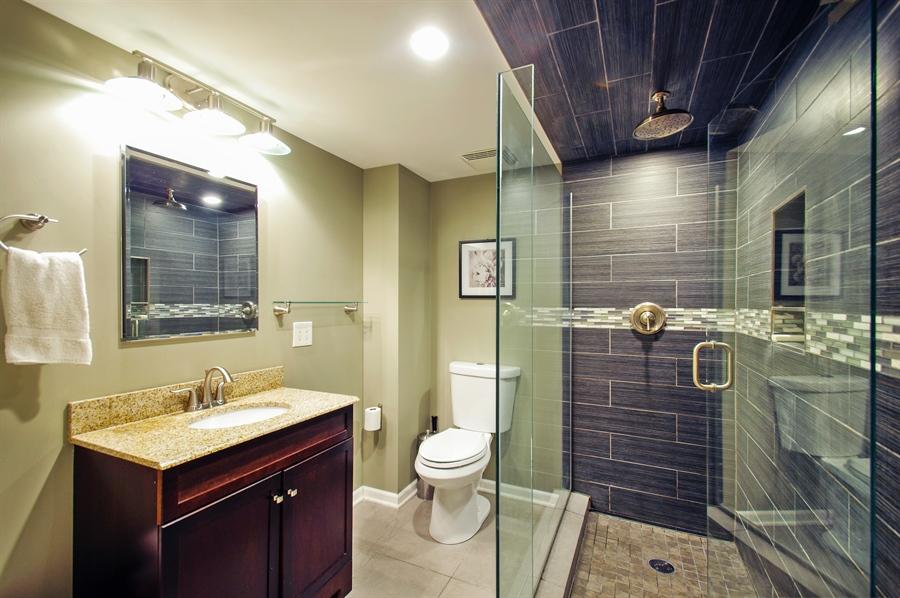 Renovated Basement Laundry Room Small Tolett Shower