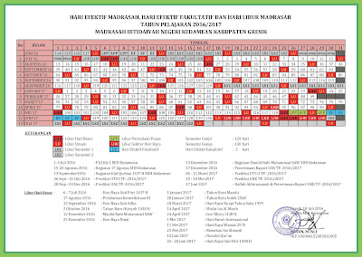 Kalender Pendidikan : Hari Efektif Madrasah, Hari Efektif Fakultatif dan Hari Libur Madrasah Tahun Pelajaran 2016/2017 MIN Kedamean Gresik