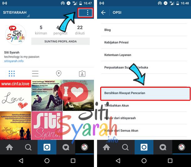menghapus riwayat pencarian instagram