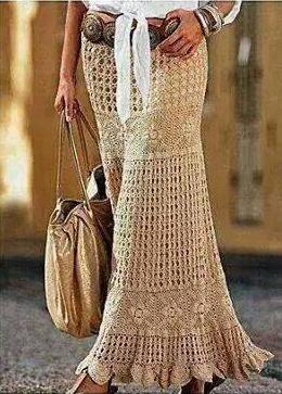 Falda Beige tejida a Crochet