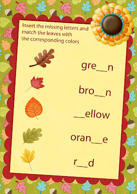 fall colours matching worksheet, English for children