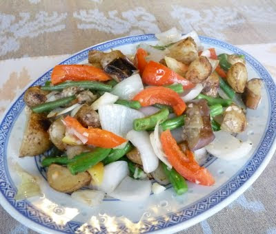 Eggplant Potato Green Bean Red Pepper and Onion Stir-Fry