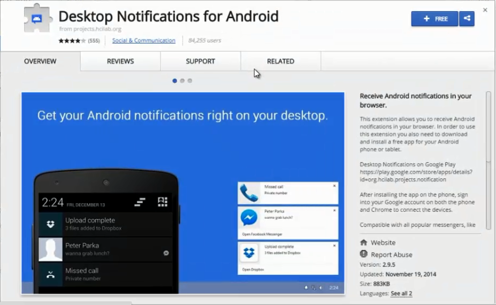 Android Notification on Desktop