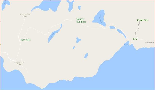 detail map Burgoyne's Cove crash site Newfoundland