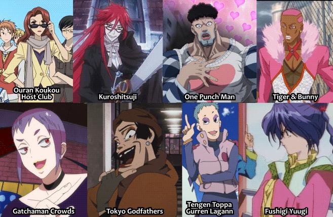 Examples of okama characters from anime Ouran Koukou Host Club, Kuroshitsuji / Black Butler, One Punch Man, Tiger & Bunny, Gatchaman Crowds, Tokyo Godfathers, Tengen Toppa Gurren Lagann, and Fushigi Yuugi