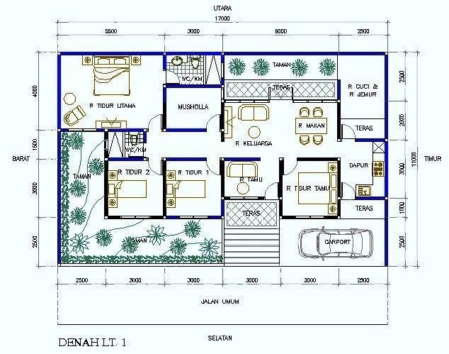 Denah Rumah Minimalis Ukuran 6x8 Dengan Mushola