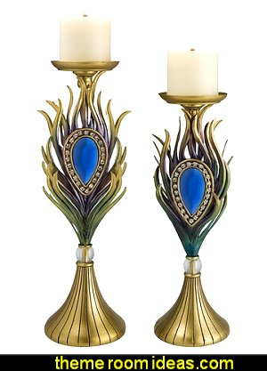 Peacock Plume Candleholders