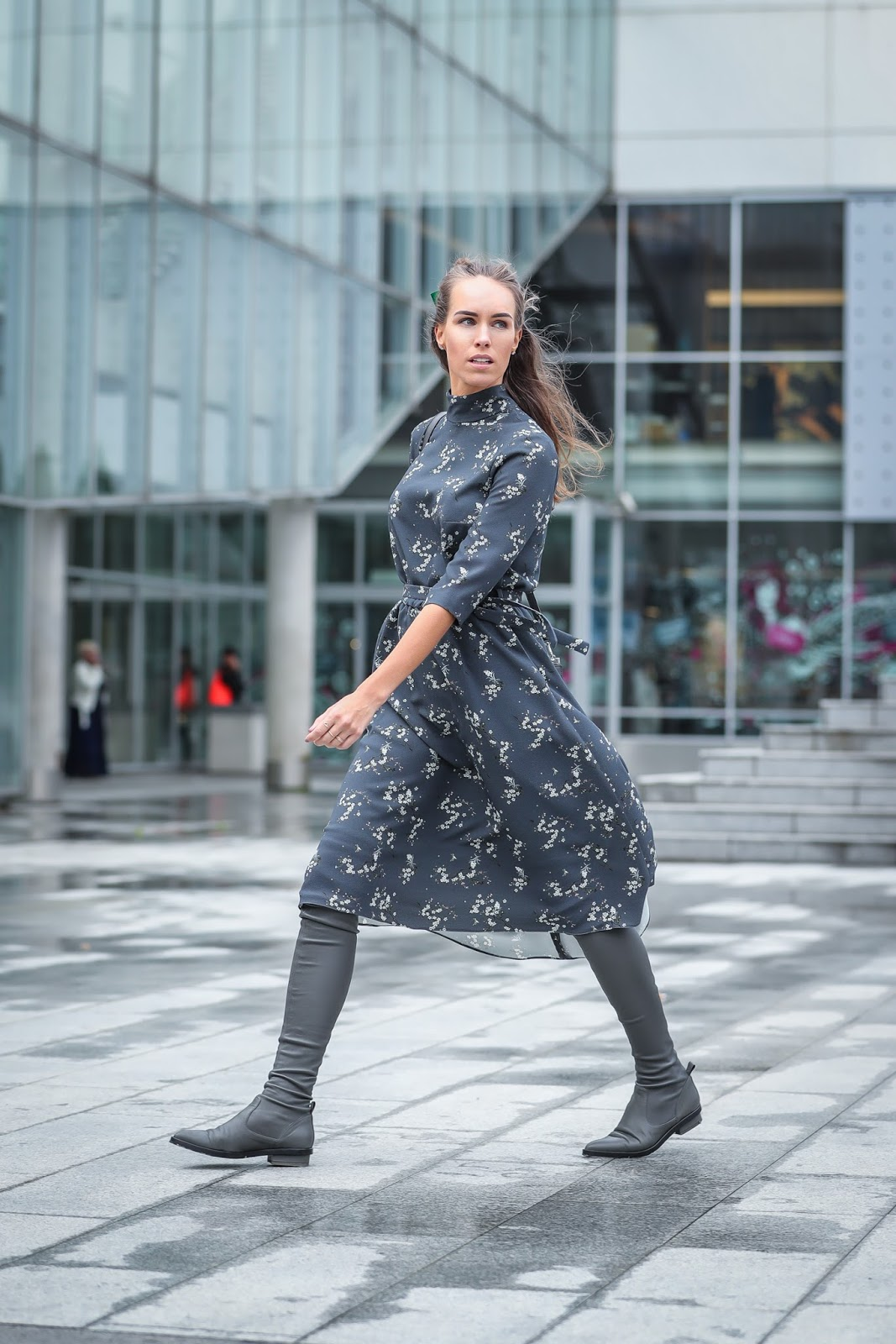 gray floral midi dress over knee boots fall outfit
