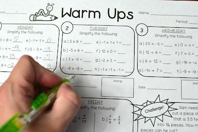 7th grade math warmups