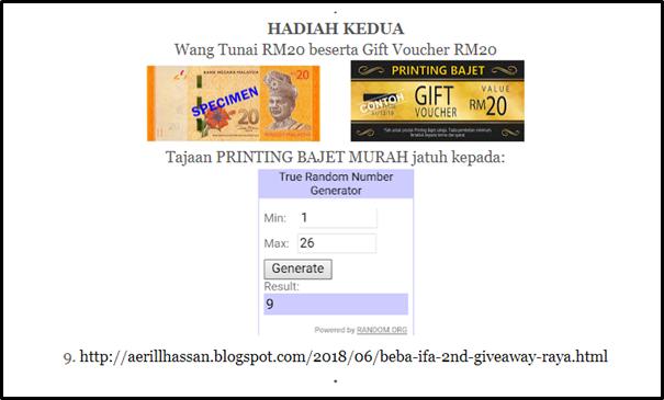 Menang Beba Ifa 2nd Giveaway Raya