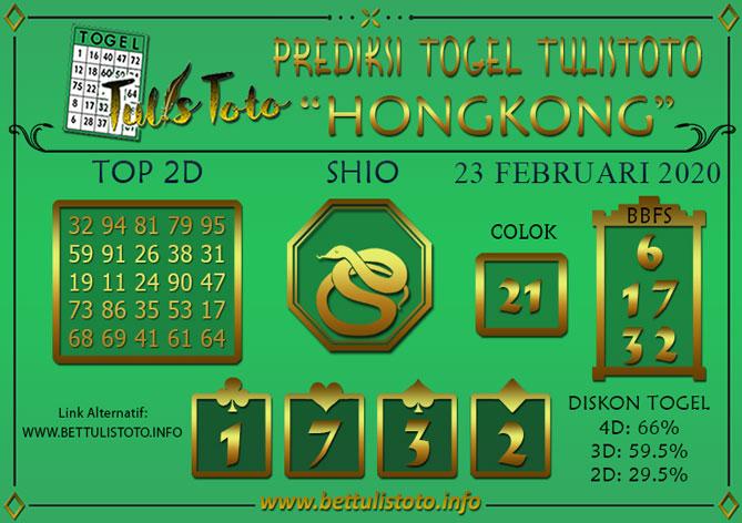 Prediksi Togel HONGKONG TULISTOTO 23 FEBRUARI 2020