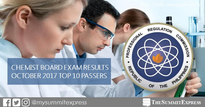 TOP 10 PASSERS: October 2017 Chemist board exam results