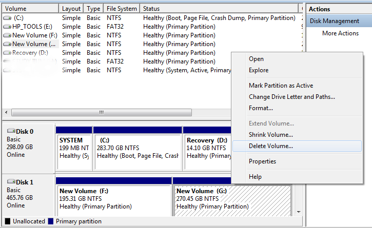 how to delete partition in external hard disk