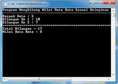 Source Code Program Menghitung Total Bilangan Nilai Rata Rata Borland C++